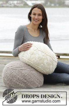 "Let\'s Relax - Knitted DROPS pouffe in garter st with cables or purl stitches in 4 strands ""Eskimo"". Can also be worked in 2 strand Polaris. - Free pattern by DROPS Design"