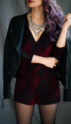 Burgundy velvet & leather. @nordstrom