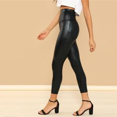 Color : Black Pattern Type : Plain Composition : Polyester Fabric : Fabric has no stretch Style : Glamorous Length : Crop Type : Regular Age : Young Faux Leather Leggings, Black Leggings, Women's Leggings, Leather Pants, Tights, Leggings Negros, Harajuku Fashion, Affordable Clothes, Stylish Outfits