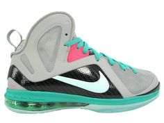 Nike LeBron 9 PS Elite South Beach Miami Vice.   Style code: 516958-001   Colorway:Wolf Grey/Mint Cindy-New Green-Pink Flash