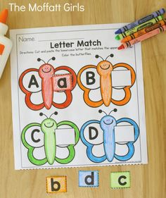 Uppercase and Lowercase Letter Match- cut and paste the lowercase letters to match the uppercase letters on the butterflies. Summer learning fun for Preschool!