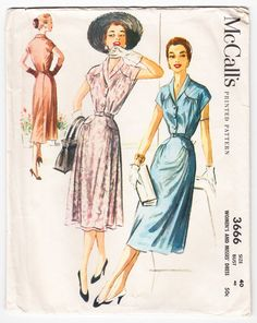 2e1fcb3d20 Vintage 1956 McCall s 3666 Sewing Pattern Women s Dress Size 40 Bust 40