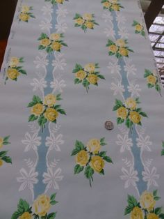Vintage Wallpaper  Yellow Roses on Lace with Blue by PatinaPaperie, $14.00