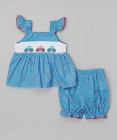 Loving this Blue Car Smocked Angel-Sleeve Top - Infant, Toddler & Girls on #zulily! #zulilyfinds