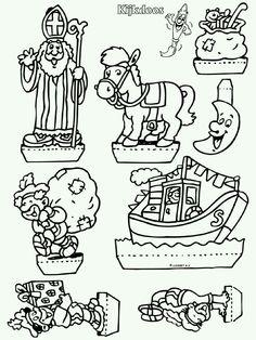 Zwarte Pete en Sinterklaas Milsaps L Milsaps L Miller Please Eli … Easy Craft Projects, Easy Crafts, Diy And Crafts, Arts And Crafts, Diy For Kids, Crafts For Kids, Winter Kids, Coloring Pages, Halloween