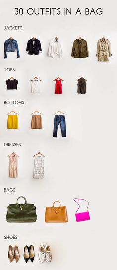 30 Outfits in a Bag. Potential inspiration for travel capsule wardrobe 30 Outfits, Casual Outfits, Cute Outfits, Travel Outfits, Fast Fashion, Look Fashion, Womens Fashion, Fashion Tips, Fashion Trends