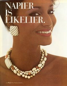 The Beauty of Retrospect: Sheila Johnson For Napier Jewellery Advertising, Jewelry Ads, Jewelry Branding, Luxury Jewelry, Fine Jewelry, Vintage Costume Jewelry, Vintage Costumes, Vintage Jewelry, Vintage Accessories