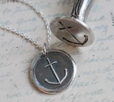 handmade anchor wax seal necklace by suegrayjewelry - great gift for the bridesmaids!