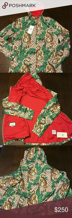 Gucci Bengal Tiger Nylon Jacket 🔥🔥🔥 Comes with all pictured.   PLEASE READ :  Tag says XXL but fits more like a XLarge. THATS WHY I LISTED IT AS XL (Euro Fit).   MAKE ME AN OFFER WONT LAST LONG!!!   CHECK MY FEEDBACK BY WITH CONFIDENCE!!  FAST 2 DAY GUARANTEED SHIPPING!!!  THANKS AGAIN!!!! Gucci Jackets & Coats Windbreakers