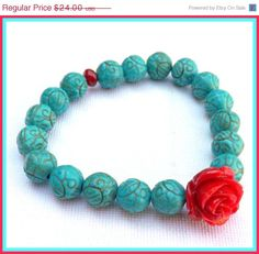 ON SALE Turquoise Coral Bracelet Stretch Bracelet by by lyrisgems