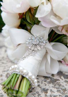 Brooch for bouquet ribbon. Fuchsia Designs.