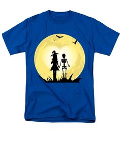 Romantic Halloween Witch And Skeleton T-shirt - Men's T-Shirt (Regular Fit)