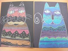ARTASTIC! Miss Oetken's Artists: Laurel Burch Cool or Warm Cats and exploration in Line and Pattern