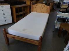 Pine single bed with mattress ----------------- £55 (pc461)