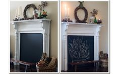 Terrific Cost-Free Faux Fireplace chalkboard Tips If you're like most urban apartment dwellers, you're dealing with limited space, finishings you Log Burner Fireplace, Craftsman Fireplace, Candles In Fireplace, Paint Fireplace, Fake Fireplace, Fireplace Cover, Victorian Fireplace, Farmhouse Fireplace, Marble Fireplaces