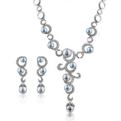 Women's Charm Gray Pearl Crystal Necklace Earring Set 18K White Gold Plated N846 #Bearfamilybirth