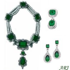 Italian Royal Jewels: Queen Margherita of Savoy's Emerald Parure: necklace (with detachable centrepiece), the devant de corsage, and the earrings