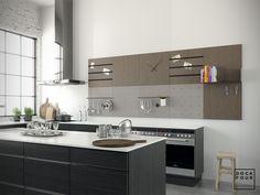 Afbeeldingsresultaat voor dock four Modern Kitchen Design, Kitchen Living, Double Vanity, Interior Inspiration, Kitchen Cabinets, New Homes, Bathroom, Wall, House