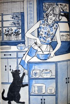 That's Our Cleo! And Other Stories About Cats, illustrated by Haris Petie Black Cat Art, Black Cats, Cat 2, Dog Cat, Cat Dressed Up, Willow Pattern, Animal Books, Cat Cards, Children's Book Illustration