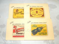 Soda Pop Labels Card, Summer Invite Notecard, Blank Card, Handmade Picnic Invitations, 4 x 5 Paper Card