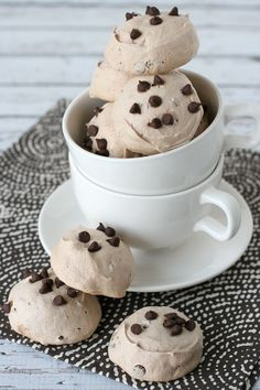 These Mocha Chocolate Chip Meringues are sweet, crisp, and delicious! Coffee and chocolate are a delicious combo in these light-as-air cookies!