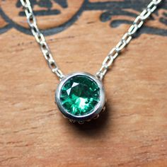 Emerald necklace - May birthstone - sterling silver - imitation emerald - bezel necklace - slider - wrought collection - emerald green