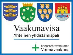 Tulostettava Vaakunavisa, mukana myös Voimavaakuna-tehtävä #vaakuna #visa #itsenäisyyspäivä #peli #ryhmätoiminta #suomi #voimavarat #vahvuudet Finland, Science, Games, Logos, Health, Health Care, Logo, Gaming, Plays