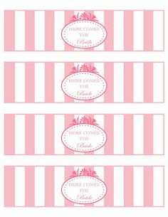 Free printable! Bridal shower water bottle labels by Paper Hat Designs