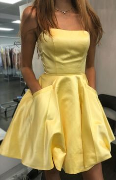 Yellow homecoming dresses - Strapless Short Yellow Homecoming Party Dress With Pockets – Yellow homecoming dresses Strapless Homecoming Dresses, Strapless Cocktail Dresses, Sexy Dresses, Cute Dresses, Strapless Dress Formal, Formal Dresses, Elegant Dresses, Summer Dresses, Homecoming Dresses For Freshman