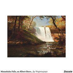Minnehaha Falls: by Albert Bierstadt, (Chrysler Museum of Art) - American Renaissance/Hudson River School Autumn Painting, Autumn Art, Fall Canvas Painting, Canvas Art, Canvas Prints, Landscape Art, Landscape Paintings, Landscapes, Nature Paintings
