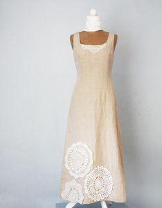 131f2ef62209fb Long natural linen dress, crochet vintage doilies, upcycled, boho, OoAK,  unic