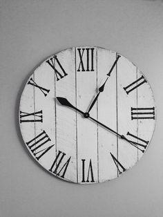 antique white pallet clock wood clock farmhouse clock rustic round clock reclaimed