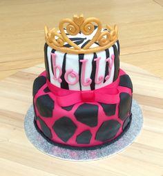 Animal print cake, tiara cake Tiara Cake, Lane Cake, Birthday Cake, Cakes, Animal, Desserts, Food, Tailgate Desserts, Scan Bran Cake