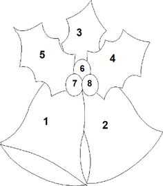 Free Applique Templates Step 3 : Peel the backing paper off the templates pieces and with the . Felt Christmas Decorations, Felt Christmas Ornaments, Christmas Bells, Crochet Ornaments, Christmas Poinsettia, Crochet Snowflakes, Christmas Angels, Christmas Projects, Felt Crafts