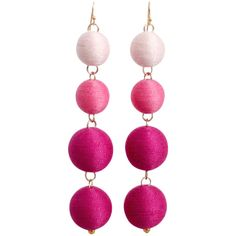 BUBBLE EARRINGS PINK OMBRE ($78) ❤ liked on Polyvore featuring jewelry, earrings, statement earrings, pink earrings, ombre earrings, ombre jewelry and earring jewelry