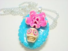 Turquoise and Pink Rose Lolita Day of the Dead Sugar by PennysLane, $10.00