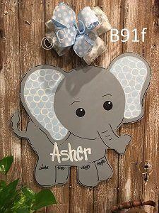 B91 - Elephant Door Hanger - Baby Elephant Hospital Door Hanger - Birth Announcement Sign