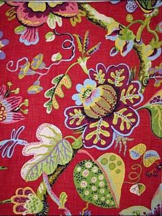 Red Floral Upholstery Fabric Wonderland Ruby P Kaufmann