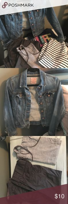 Old navy Bundle Old navy Bundle. Jean jacket is an XZ(small stain on front). Capri pants size 0, tank and blue 3/4 sleeve shirt are a med and blue and white stripped shirt is a small. All worn but in good condition. Old Navy Tops