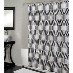 Bath Bliss PEVA Hexagon Design Shower Curtain
