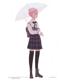 Anime picture original punziella single tall image short hair simple background white background standing holding pink hair looking away signed full body pink eyes pleated skirt zettai ryouiki lipstick hair bun (hair buns) plaid skirt rain 493566 en Pretty Art, Cute Art, Arte 8 Bits, Punziella, Poses References, Character Drawing, Anime Art Girl, Cute Drawings, Art Inspo