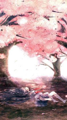 The girl lies on the water with a cherry blossom scene