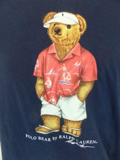 Vintage Polo Bear by Ralph Lauren T-Shirt Size Large Blue Beach Summer  Boating   9877d0acb3d5