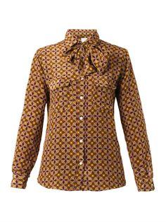 Stella Jean Rossella round-print silk shirt
