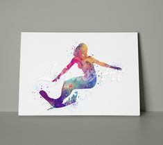 Girl Surfing Canvas Wall Art Sports Watercolor Print Home Decor Wall Hanging Nursery Room Decor Painting Gifts Personalised Custom Poster