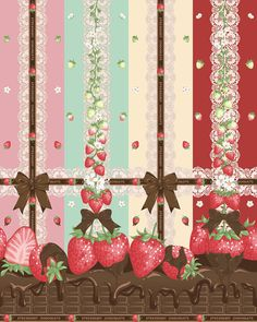 Wallpaper Backgrounds, Iphone Wallpaper, Strawberry Background, Textile Prints, Art Prints, Fashion Wallpaper, Angelic Pretty, Pretty Wallpapers, Japanese Fabric