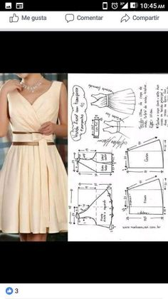 Vestidos cortos Source by morrniey cortos moldes Dress Sewing Patterns, Sewing Patterns Free, Clothing Patterns, Fashion Sewing, Diy Fashion, Fashion Outfits, Diy Clothing, Sewing Clothes, Sewing Sleeves