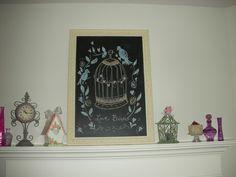 Valentine's Chalkboard Art with Valentine's Mantle Decoration