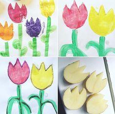 Fina tulpaner hos @pyssligatove gjorda med potatistryck Så himla fint att måla med glitter runt om dem!  Bild: @pyssligatove  #pysslamedkidsen #pysslamedbarn #pyssel #diy #diykids #barnpyssel #pysselinspiration #viärallapysselmorsor #kreasiwinspo #allakanpyssla @inspoforskolan