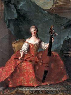 Madame Henriette (Louis XV's daughter) playing the Viola da Gamba in Court dress by Jean-Marc Nattier (1685- 1766)